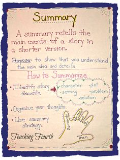 Teaching Fourth: Summarizing Anchor Chart