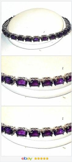 African Amethyst Bracelet 13.00 cts 7.5 inches Sterling Silver USA Seller  #ebay http://stores.ebay.com/JEWELRY-AND-GIFTS-BY-ALICE-AND-ANN