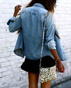 chambray + sequined purse.