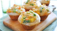 Chicken pot pie cupcakes (tips: add more cheese on top for a moister center. Also use cream of potato soup instead of cream of chicken.  May want to cut biscuits in half to have a less heavy crust.)