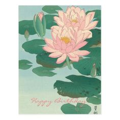 Ohara Koson Water Lilies 1920 Japanese Woodblock Print Vintage Historical Japanese Art Art Print by Tokugawa - X-Small Japanese Artwork, Japanese Painting, Japanese Prints, Chinese Prints, Ohara Koson, Lily Painting, Art Asiatique, Guache, Japanese Flowers