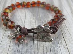 Rabbit knotted leather bracelet leather beaded by WynnesWhimsies, $30.00