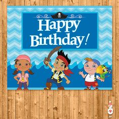 Jake and the Neverland Happy Birthday Sign Blue Chevron -- Neverland Pirates Birthday - Neverland Pirates Party Favors - JNLP