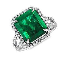 Emerald Cut Emerald and Micropavé Diamond Ring in Platinum (6.28 ct.) #bluenile