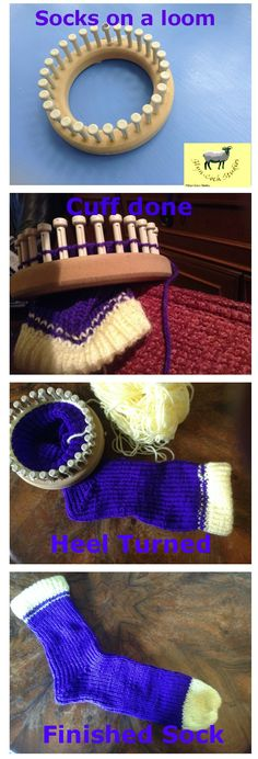 The easy way to knit socks. Use a knitting peg loom, No knitting needles involved and quick to make. Pictures show the steps to make your socks.