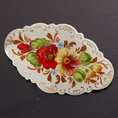 Hand-Painted Russian Barrette, White