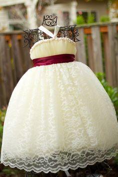 Ivory Flower Girl Tutu Dress with Ivory Lace Overlay - Sizes 24m thru 4T. $110.00, via Etsy.