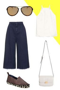 5 Non-Boring Ways To Wear A White Tank #refinery29  http://www.refinery29.com/how-to-wear-white-tank-top#slide-3  — SPONSORED —The Denim CulottesDisrupt the squeaky-clean feeling of this crepe top with raw-hemmed culottes and espadrilles in unexpectedly luxe leather. Tortoiseshell aviators, like this pair from Oakley, and a structured crossbody bag are part polished, part casual, rounding out the outfit's best-of-both-worlds feel.