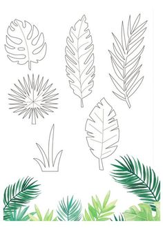 Free tropical printables from Papercraft Inspirations 167 - Papercraft Inspirati. Free tropical printables from Papercraft Inspirations 167 - Papercraft Inspirations Free tropical printables from Papercraft Inspiration. Paper Flowers Diy, Flower Crafts, Diy Paper, Paper Butterflies, Leaves Template Free Printable, Owl Templates, Applique Templates, Applique Patterns, Free Printables