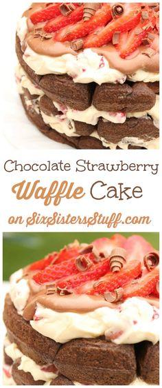Chocolate Strawberry Waffle Cake on SixSistersStuff.com