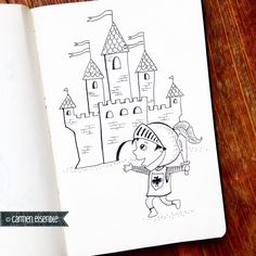 Castle and Knight #365doodleswithjohannafritz #kidlitart #mystaedtler by carmeneisendle