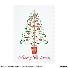 Personalized #Christmas #Tree Flat #Christmas #Card
