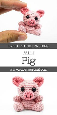 Crochet Keychain Pattern, Crochet Amigurumi Free Patterns, Crochet Animal Patterns, Crochet Animals, Crochet Animal Amigurumi, Crochet Pig, Crochet Gifts, Diy Crochet, Crochet Dolls