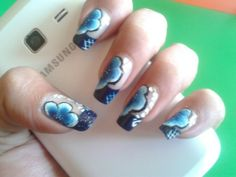 Nice DIY Blue Flowers Motif On Blue French Nail Art Design Idea - Nails Art Design #prom nail art