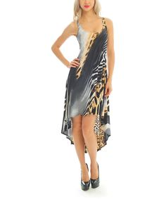 Look at this Black & Gold Animal Sleeveless Hi-Low Dress on #zulily today!