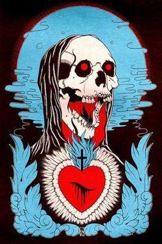 bleeding heart & skull