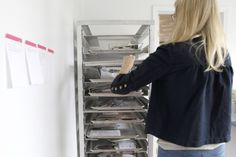 Add storage for art projects/whatever with a commercial baking rack! Would be brilliant for my watercolor and calligraphy projects! :)
