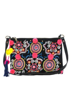 ASOS Embroidered Across Body Bag With Pom Poms