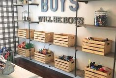 If I had boys, this space from would serve as major room inspo! From the buffalo check wallpaper to the metal & wood… If I had boys, this space from M+B Design would serve as major room inspo! From the buffalo check wallpaper to the metal & wood… Black Pipe Shelving, Toy Rooms, Bedroom Decor, Boys Bedroom Furniture, Wall Paper Bedroom, Modern Furniture, Furniture Removalists, Furniture Quotes, Children Furniture