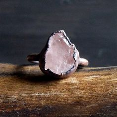 Morganite Ring Raw Natural Stone Crystal Ring Copper Rough Stone Jewelry Ring…