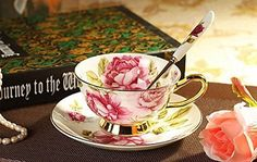 Tea cup set saucer spoon English rose classic British luxury style bone China ceramic >>> Be sure to check out this awesome product.