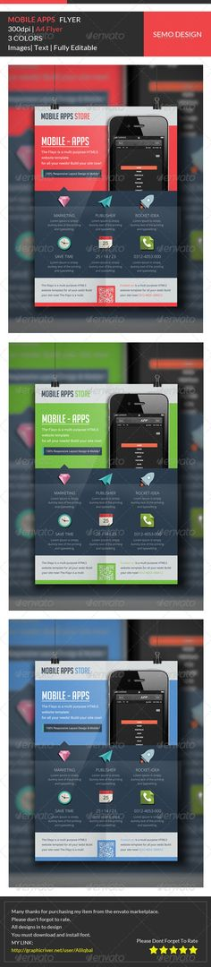 Mobile Applications Flyer Template ...  a4, ad, advert, advertisement, android, app flyer, application, apps, design, flyer, iphone, letter, magazine ad, mobile app, phone promo, print, product, product flyer, promo flyer, promotion, smartphone, software, tablet, template