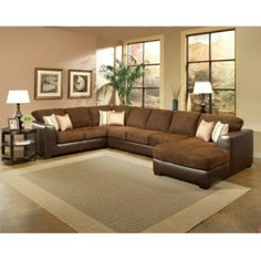 Shop for Furniture of America Chester Rust Micro-Denier Fabric Sectional. Get free delivery On EVERYTHING* Overstock - Your Online Furniture Shop! Couch With Chaise, Sectional Sofa With Chaise, Fabric Sectional, Sofa Couch, Couches, Black Sectional, Large Sectional, Inside Home, Contemporary Sofa
