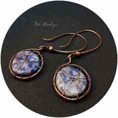 Cobweb blue earrings Exclusive copper jewelry Wire wrapped