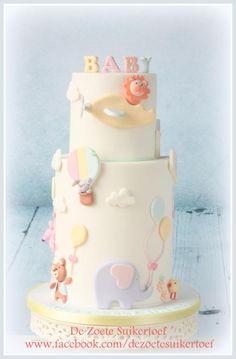 Sweet baby shower double barrel cake - Cake by De Zoete Suikertoef
