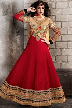 Peach Yellow and Crimson Red Faux Georgette Lawn Kameez