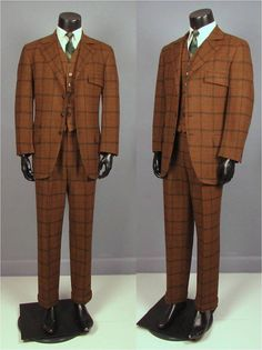 Vintage Suit  Late 1960s Men's Three Piece Brown by jauntyrooster