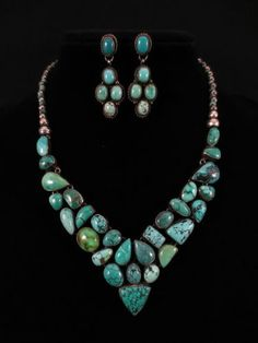 """Candelaria Turquoise set in a collar necklace with earrings by a Santo Domingo artist who signed the piece """"PP Sterling"""""""