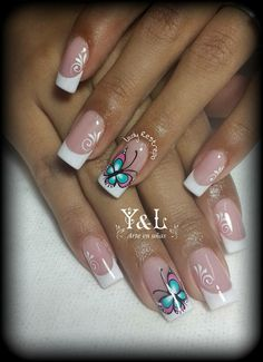 Uñas May Nails, Love Nails, Hair And Nails, French Nail Art, French Tip Nails, Romantic Nails, Butterfly Nail Art, Girls Nails, Luxury Nails