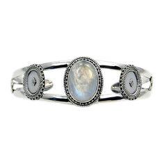 Moonstone & .925 Sterling Silver Cuff Bracelet