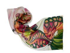 Magic butterflies  silk scarf. Red and green hand by ArmeniaOnSilk
