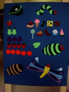 "31 piece ""Very Hungry Caterpillar"" felt board story set. Perfect for captivating young audiences with Eric Carle's wonderful transformation story!"