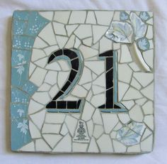 Decorative house number mosaic made to order by handmadebyhippo