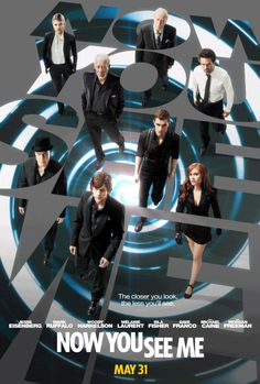 """""""NOW YOU SEE ME"""" stars Michael Caine, Common, Isla Fisher, Dave Franco, Morgan Freeman, Jesse Eisenberg, Woody Harrelson, Melanie Laurent, Mark Ruffalo, and (I think) an uncredited cameo by Robert Downey, Jr. It was an awesome movie w/ a surprise ending you'll never see coming. The First Rule of Magic: """"Always be the smartest person in the room!"""" 2 thumbs up! Use the link to watch the official trailer!"""