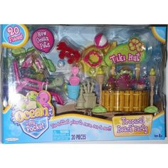 Ocean in My Pocket Tropical Beach Party Playset by Jakks. $19.99. New Ocean Pets. bucket, shovel, beach ball, 2 flower necklaces, 2 drinks,. sunscreen, SurfBoard, Sunglasses, towel, Tiki Hut with Stool. Includes: 3 Ocean Pets, beach Chair, Ukulele, sand castle,. and 2 tiki Torches. Tiki hut and surfboard are cardboard.