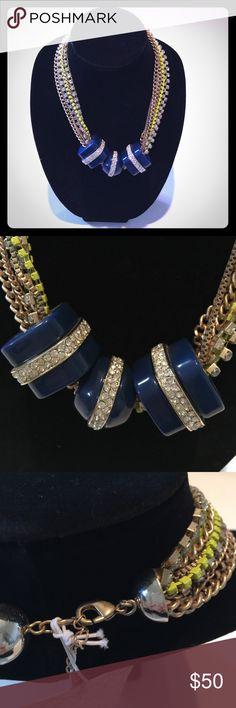 """PIM&LARKIN:  Multi-Strand Necklace PIM&LARKIN:  Multi-Strand Necklace. Colors are Gold Plated/Cubic Zirconia/Neon Yellow with different strands of Chains. The Focal Point are the Three Navy Plastic Square & Round with Gold and Cubic Zirconia Rhinestones in the Center of the Necklace.   Length is 19"""". Lobster Clasp. NECKLACE is Heavy.   BRAND NEW!  NEVER WORN!  WITH TAGS! Pim & Larkin Jewelry Necklaces"""