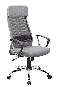 Modern Furniture High Back Mesh and Fabric Executive and Managerial Computer Desk Swivel Office Chair with High-quality Fabric Upholstery Headrest and Seat, Multiple Colors, Gray