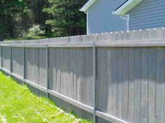 The VersaPost is a steel post for wood fences that can be made to look like wood. The VersaPost is Staining Wood Fence, Cedar Wood Fence, Wood Privacy Fence, Fence Stain, Fence Panels, Wooden Fences, Grey Fence Paint, Fence Paint Colours, Steel Fence Posts