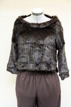 Sweat shirt femme imitation vison manches 3/4 en fausse fourrure : Pulls, gilets…