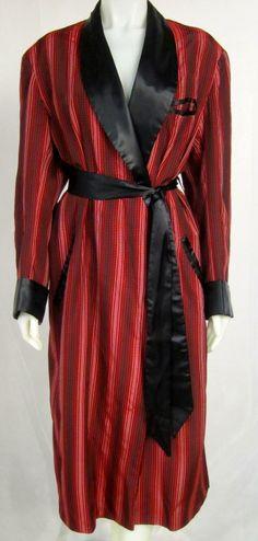 375311e9d2  365 - 1940s 50s Gentleman s Desi Arnez Red  amp  Black Smoking Jacket Robe  image 6