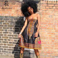 Barato Roupas de verão 2016 de moda sem mangas cinto Condoer África batik dashiki vestido para as mulheres do…
