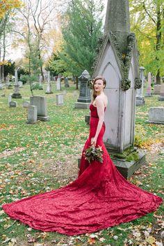 Custom Elegant Red Lace Wedding Dress with Long Train and Stunning Beading. Red Lace Wedding Dress, Wedding Dresses, Bridal Gowns, Beading, Wedding Photos, Train, Elegant, Formal Dresses, Halloween