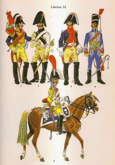 Spanish; Top L to R Standard bearer Cavalry Regt Algarbe, Dragoon Zamora Dragoon Regt, Trooper Carabiners of the Queen & Captain Hussars de Maria Luisa.  Mounted bottom Dragoon 1st Dragoon Regt(King's)