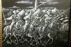 Fantasia signé JABAR Tableau Orientaliste XXème Peinture huile sur toile 50X40cm