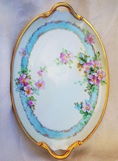 "50% OFF Vintage GDA France 1920's Hand Painted ""Petite Pink Roses"" 15"" Floral Tray by the Early Chicago Artist, ""Kimmel"""