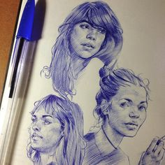 Más de 10 ideas increíbles para aprender a dibujar caras - - . Pen Illustration, Portrait Illustration, Illustrations, Pen Sketch, Drawing Sketches, Pen Drawings, Ballpoint Pen Drawing, Drawing People, People Sketch